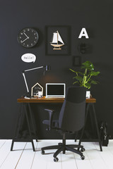 Black workspace.