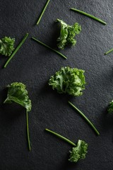 Fresh kale on slate