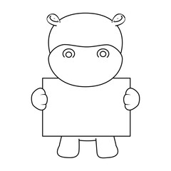 cute hippo with banner character icon