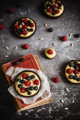 Berry and cream tartlets