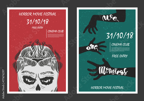Horror movie retro posters set  Grunge halloween posters with