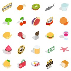 Greengrocery icons set, isometric style