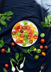 Colorful tomato's with vegetables on dark background