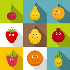 Happy smiling fruit icons set, flat style