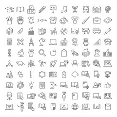 school education line black icons set