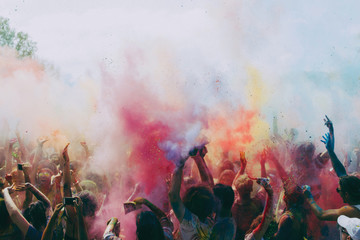 Festival with colorful smoke