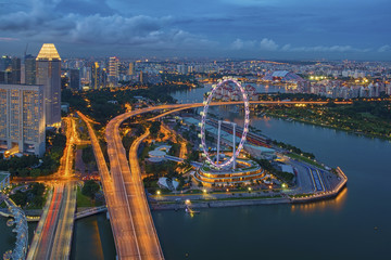 Aerial view of Marina Bay , Singapore