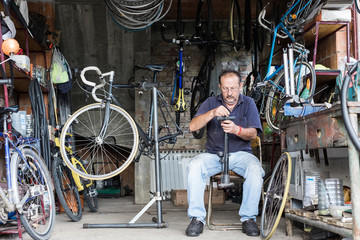 Senior Man Working in his Garage