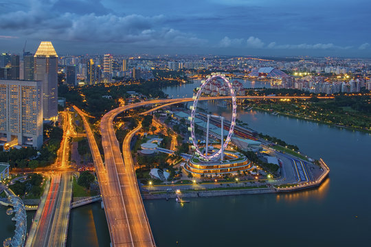 Aerial view of Marina Bay , Singapore
