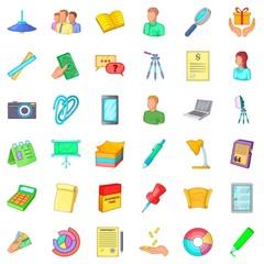 Business team icons set, cartoon style
