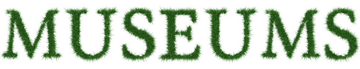 Museums - 3D rendering fresh Grass letters isolated on whhite background.
