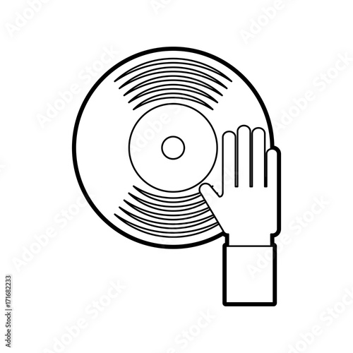 u0026quot hand touch vinyl music disk entertainment vector