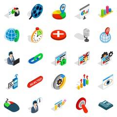 Information bureau icons set, isometric style