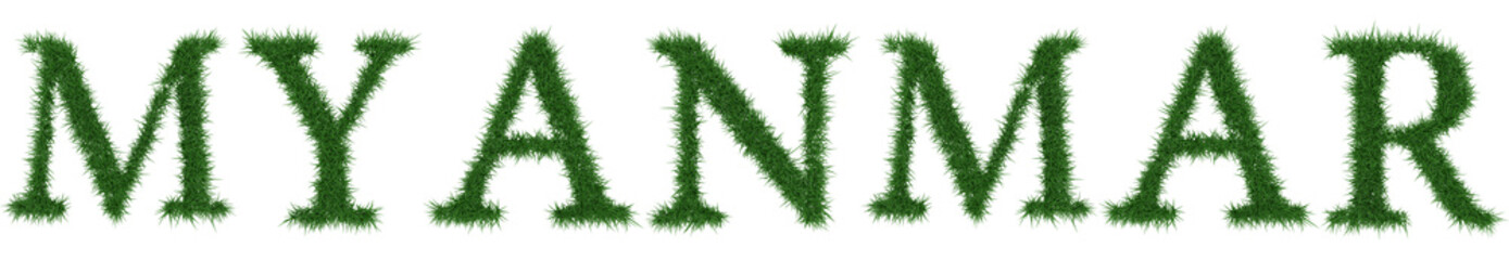 Myanmar - 3D rendering fresh Grass letters isolated on whhite background.