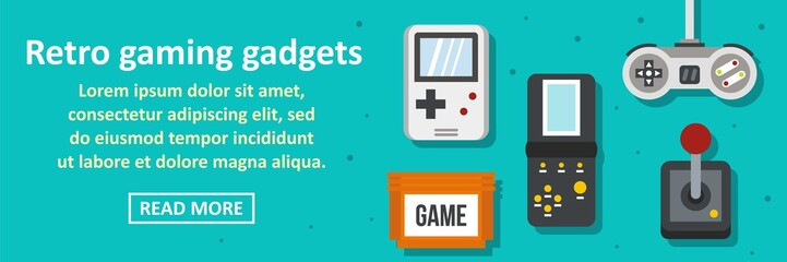 Retro gaming gadgets banner horizontal concept