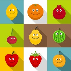 Fruit for kid icons set, flat style