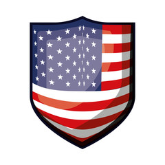 badge with flag united states of america colorful design on white background vector illustration