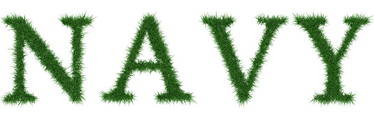 Navy - 3D rendering fresh Grass letters isolated on whhite background.