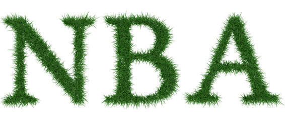 Nba - 3D rendering fresh Grass letters isolated on whhite background.