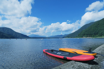 Japanese lake with SUP board