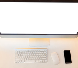 Wall Mural - Office desk table with imac and smart phone Top view