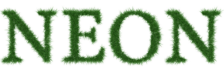 Neon - 3D rendering fresh Grass letters isolated on whhite background.