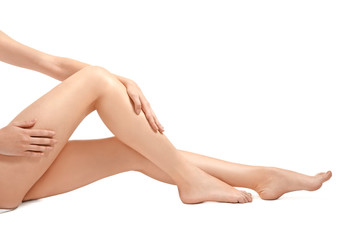 Legs of beautiful woman, isolated on white