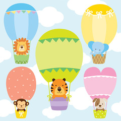 Animals in hot air balloons vector illustration set. Lion, tiger, monkey, elephant, and dog on cute pastel hot air balloons.