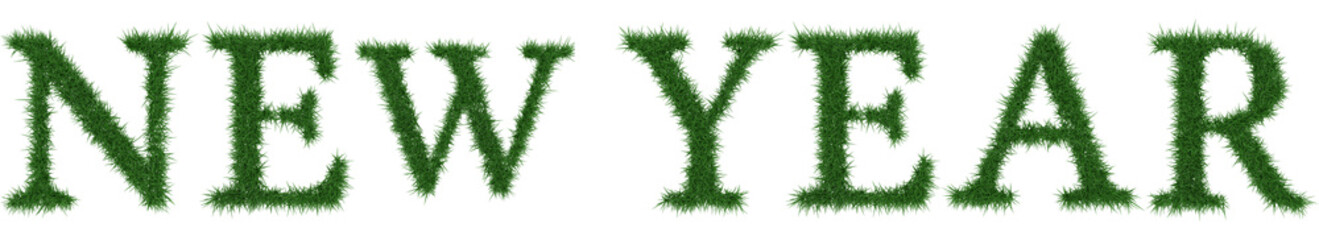 New Year - 3D rendering fresh Grass letters isolated on whhite background.