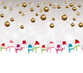 Christmas balls background with snowman
