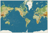 America centered physical world map stock image and royalty free world map americas centered physical map vintage colors no bathymetry gumiabroncs Images