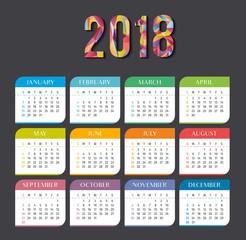 Year 2018 calendar vector template. Modern 2018 calendar. Vector of Calendar 2018 year, 12 month calendar with modern style.