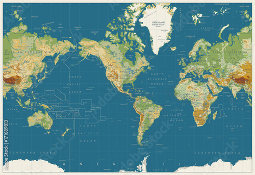 World map americas centered physical map vintage colors no world map americas centered physical map vintage colors no bathymetry gumiabroncs Images