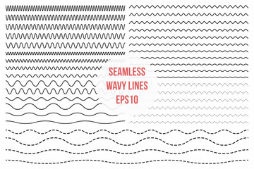 Wavy lines set. Horizontal seamless thin zig zag, criss cross and wavy lines for brushes