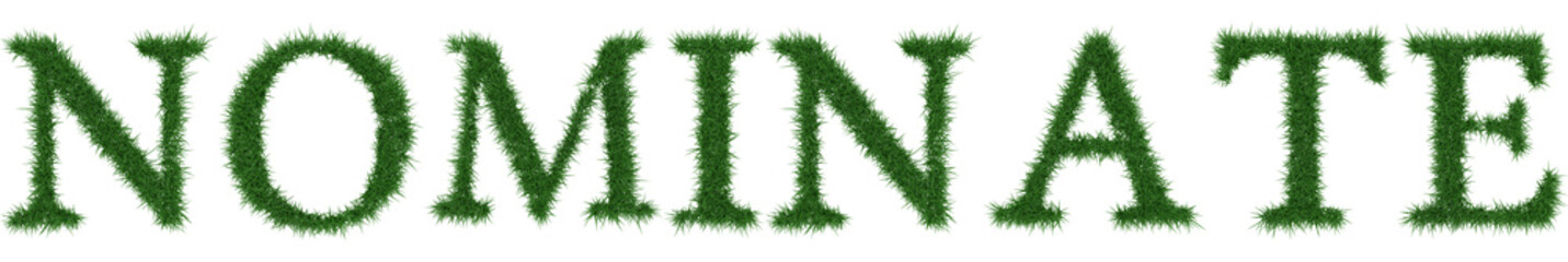 Nominate - 3D rendering fresh Grass letters isolated on whhite background.