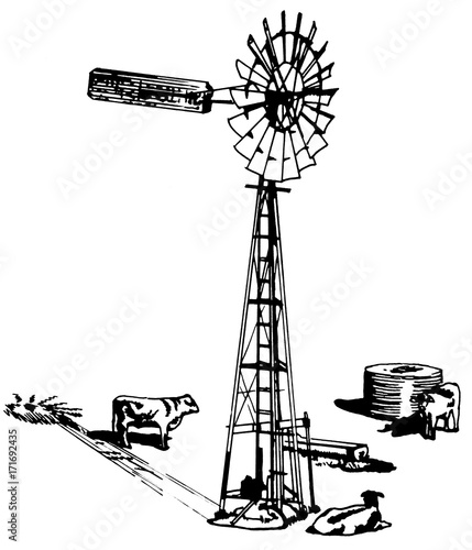 Line Drawing Windmill : Quot windmill with cows and water tank line art pen drawing