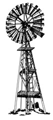 Windmill single isolated line art pen drawing. black and white,