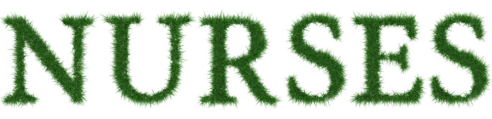 Nurses - 3D rendering fresh Grass letters isolated on whhite background.