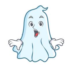 Surprised cute ghost character cartoon
