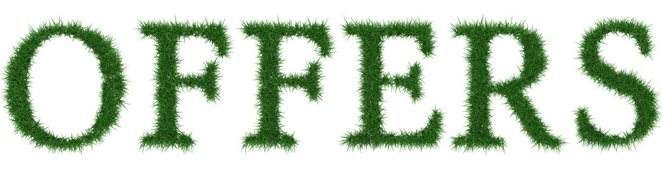 Offers - 3D rendering fresh Grass letters isolated on whhite background.