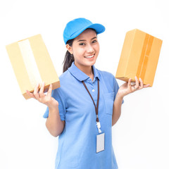 Portrait of happy delivery asian woman her hands holding cardboard box isolated on white background, young asian woman carry brown box delivery service concept