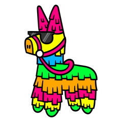 Cartoon Pinata Wearing Sunglasses