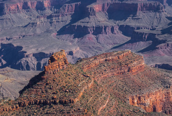 Rock Ship on the background of the picturesque panorama of the Grand Canyon