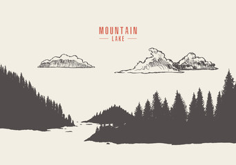 Vector mountain lake pine forest style hand drawn