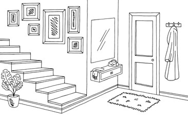 Hallway graphic black white interior sketch illustration vector