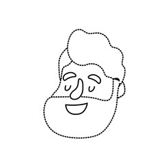 dotted shape avatar man face with hairstyle design vector illustration