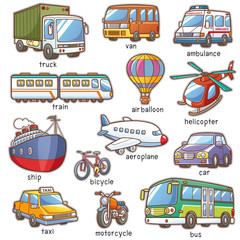 Garden Poster On the street Vector Illustration of Cartoon Transportation vocabulary