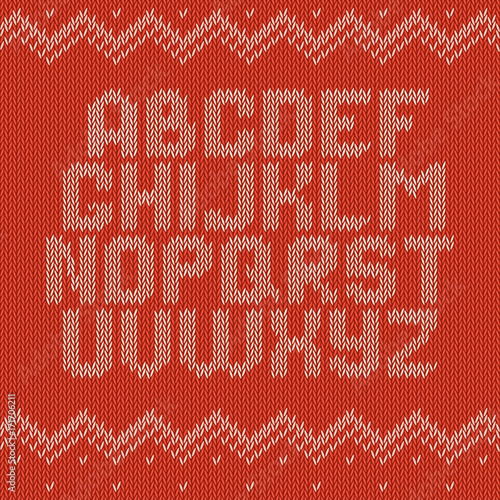 Knitted Alphabet On Red Background Christmas Crochet Font On