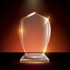 Blank Transparent Vector Acrylic Glass Trophy Award template in Glowing Background