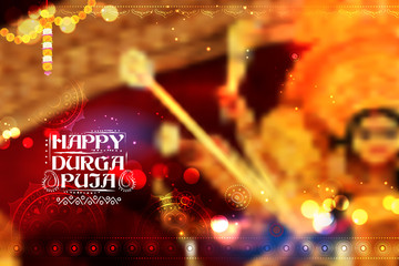 Goddess Durga in Happy Dussehra background with bengali text Sharod Shubhechha meaning Autumn greetings